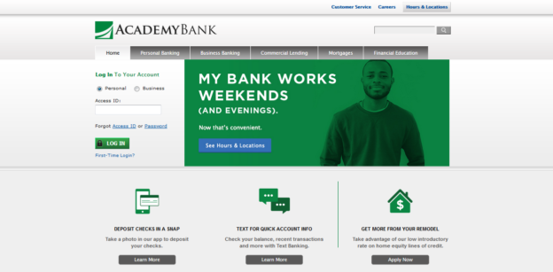 Academy Bank Homepage