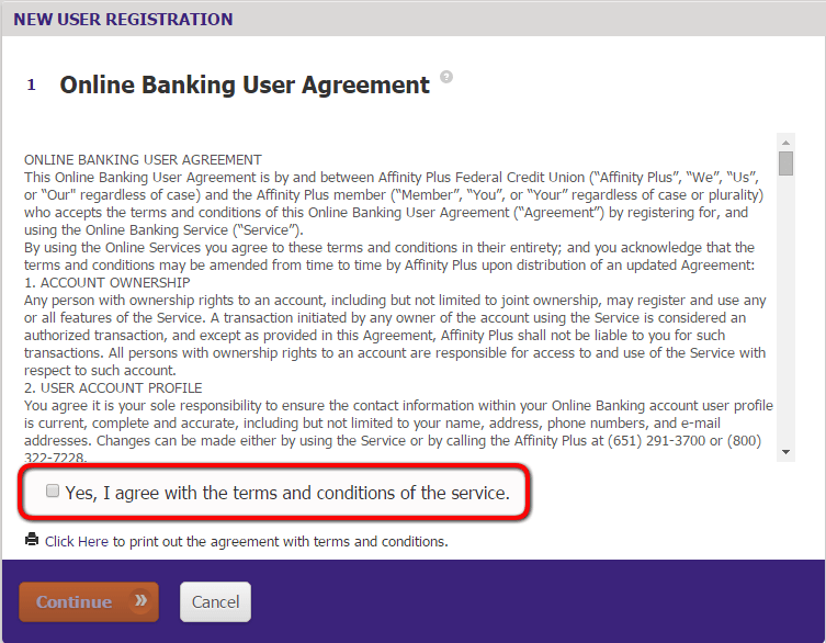 Affinity Plus Online Banking Enrollment agreement