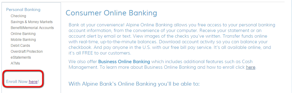 Alpine Bank Enroll Step 2nd