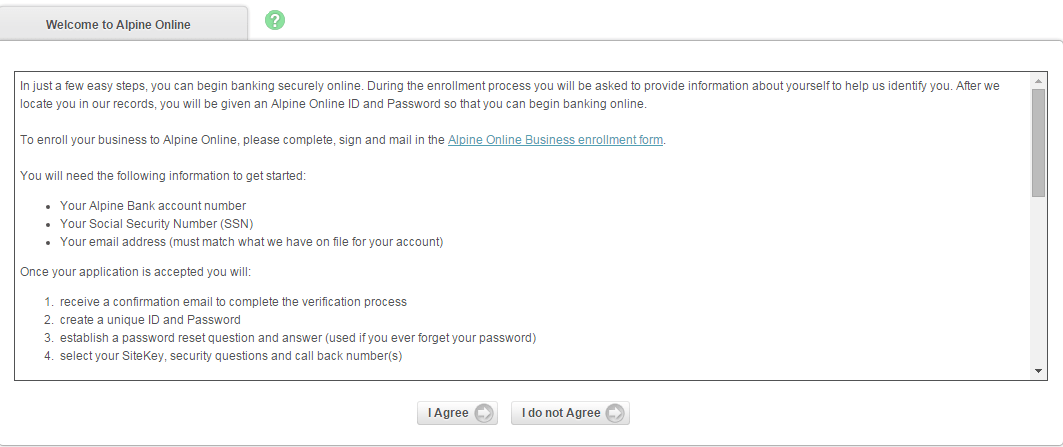 Alpine Bank Enroll Step 3th