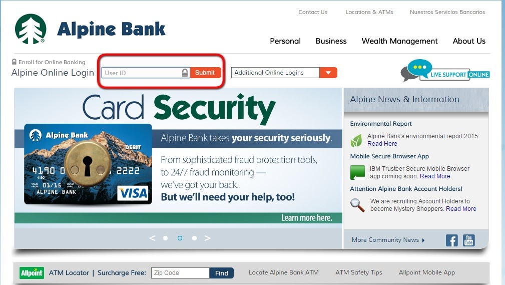 Alpine Bank Login Step 1st