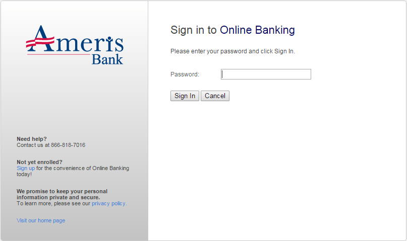 Ameris Bank Enter Password