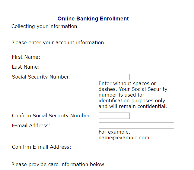 Ameris Bank online banking enrollment form