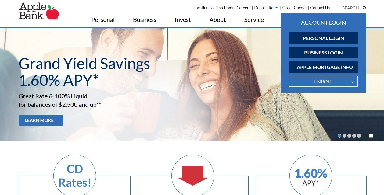 Apple Bank Homepage