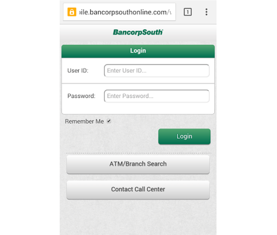BancorpSouth mobile login