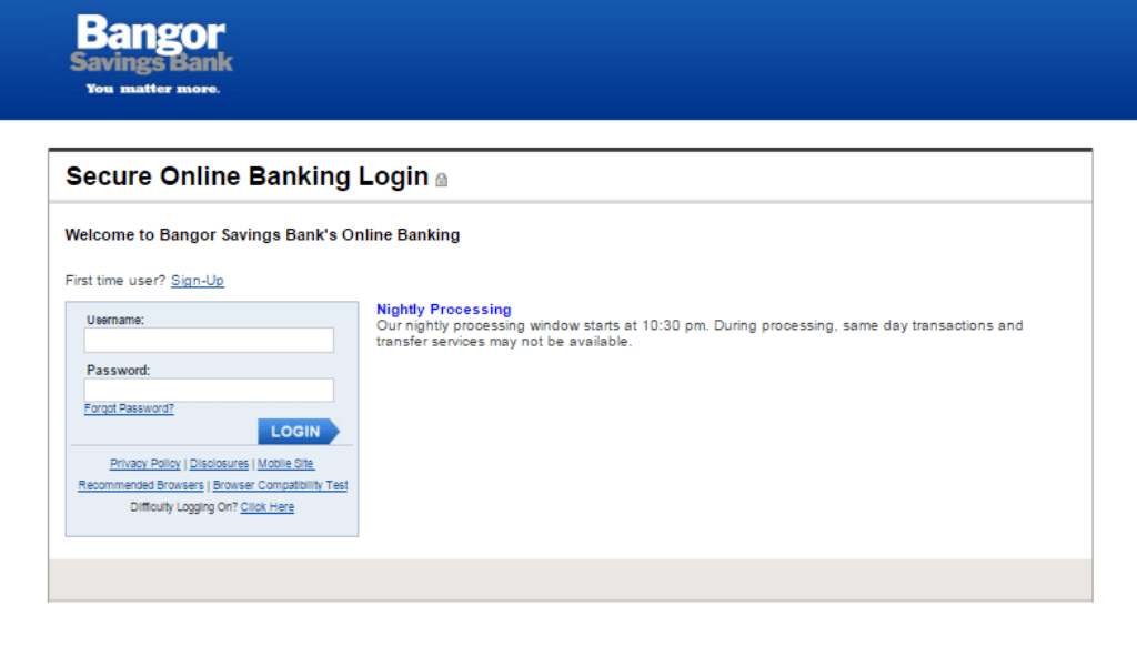 Bangor Savings Bank login