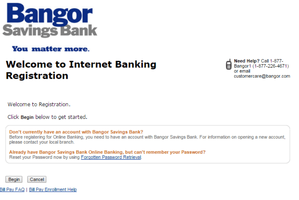 Bangor Savings enroll Banking Registration