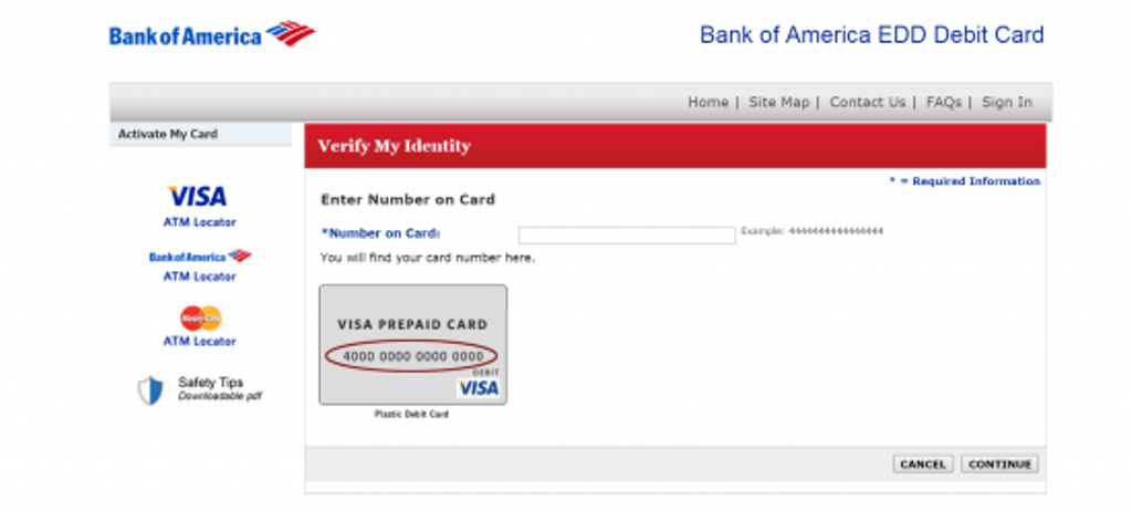 Bank of America EDD Card Register Page