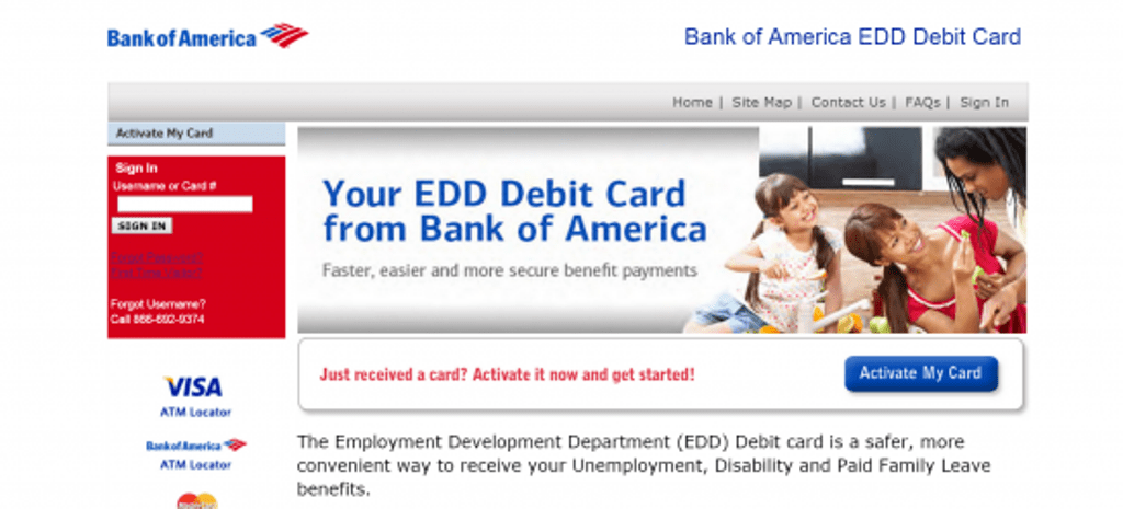 Bank of America EDD Debit Card Home Page
