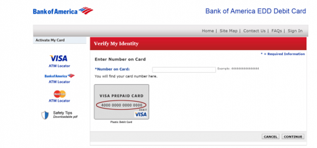 Bank of America EDD Debit Card Login