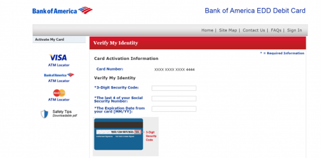 Bank of America EDD Debit Card Register Page