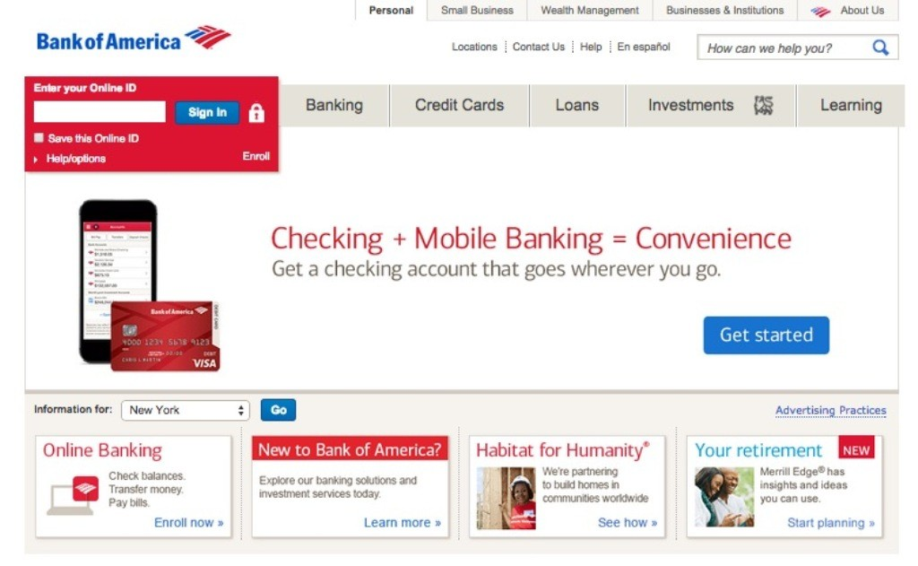 Bank of America Online Banking Home Login
