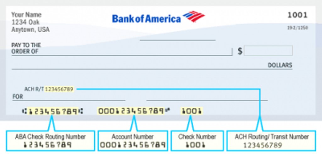 Bank of America check