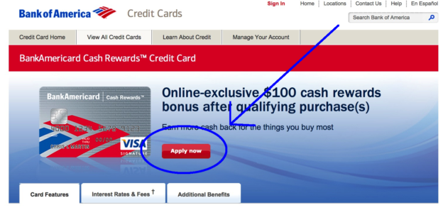 Bank of America credit card apply now page