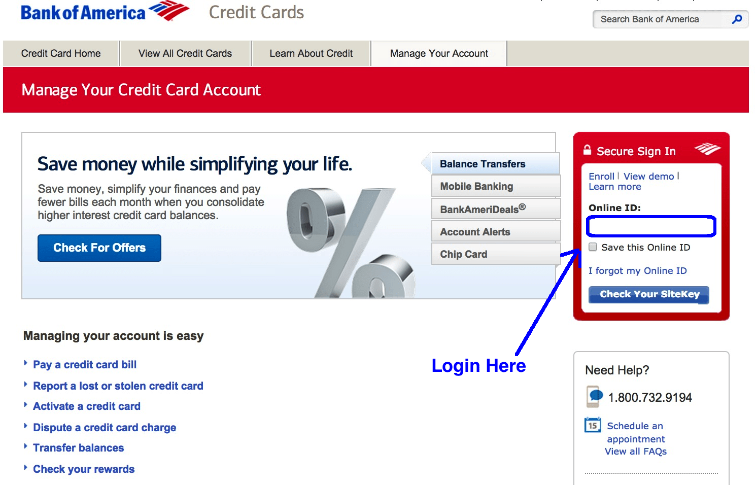 Bank of America credit card login page