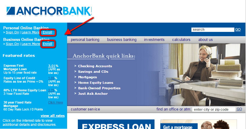 AnchorBank Online Banking Enroll Step One