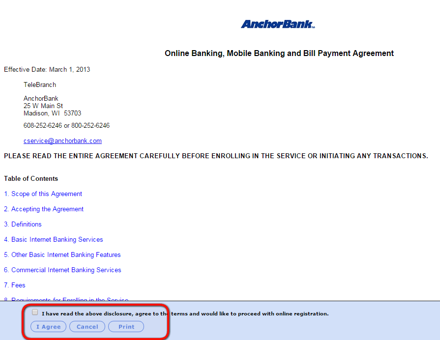 AnchorBank Online Banking Enroll Step Two