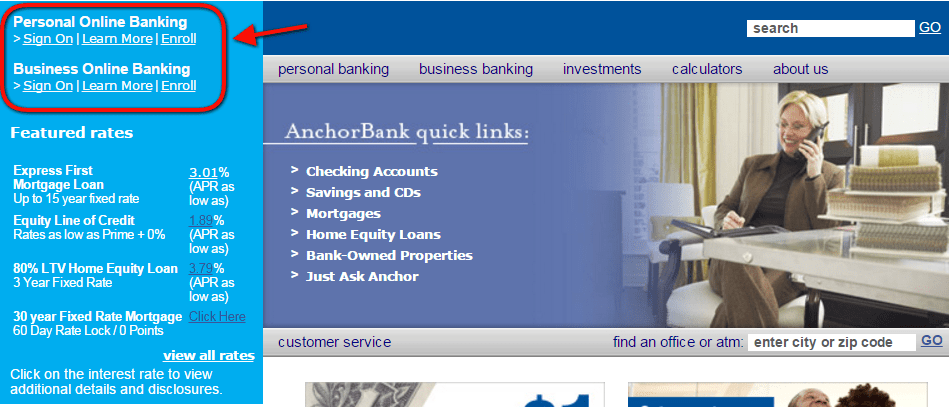 AnchorBank Online Banking Login Step ONE