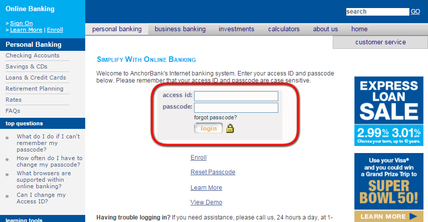 AnchorBank Online Banking Login Step Two