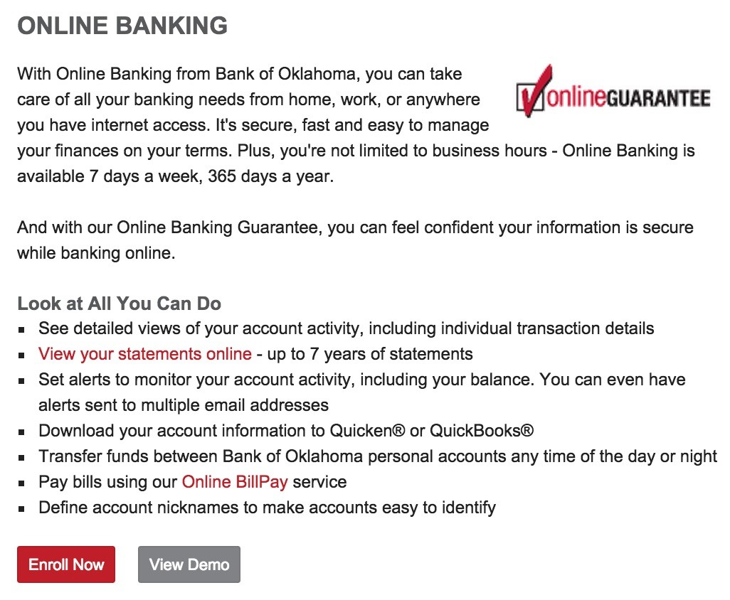 Bank of Oklahoma Enroll