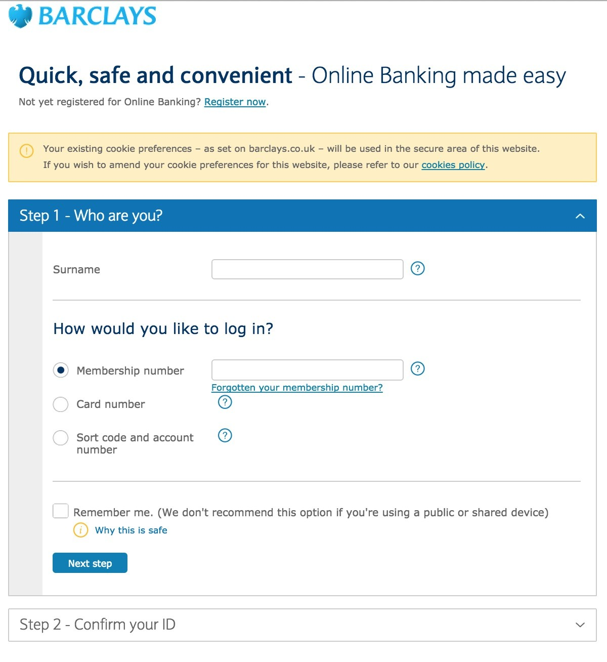 barclays online banking login page