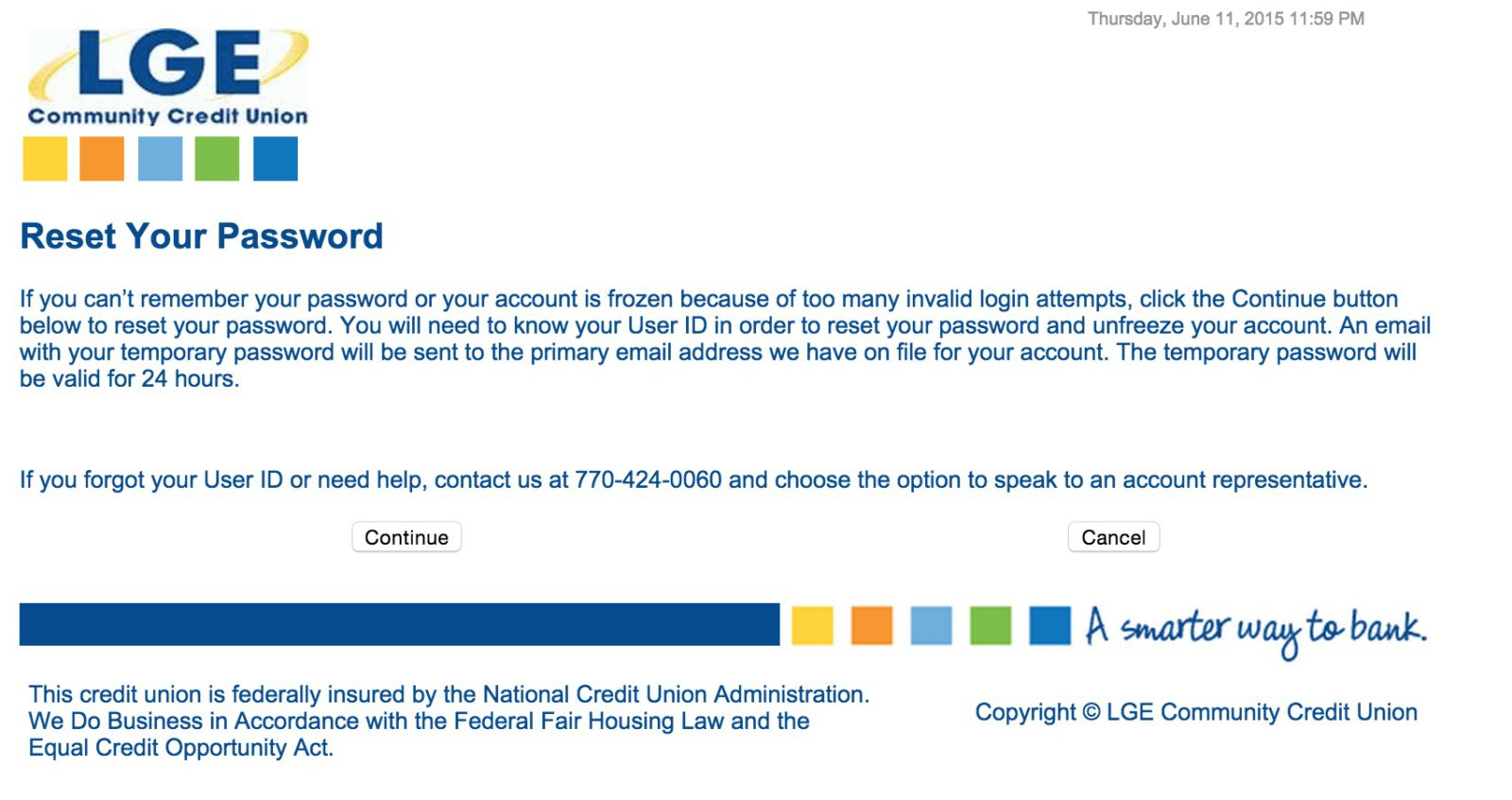 lgeccu bank password reset
